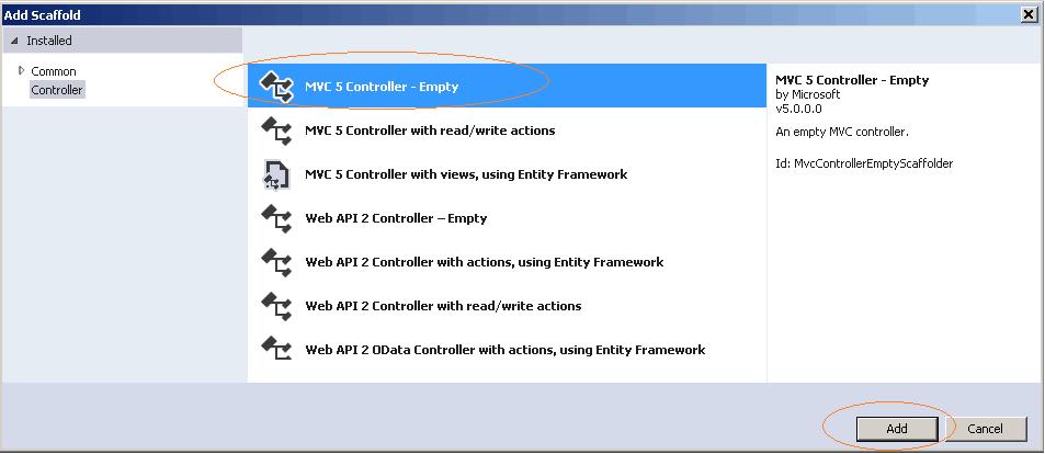 Add New MVC Controller