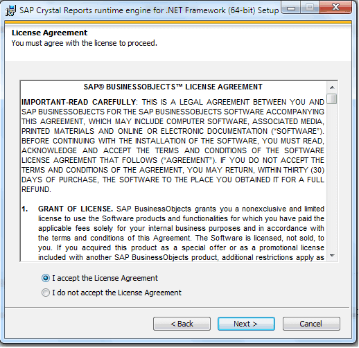 Crystal Report License agreement