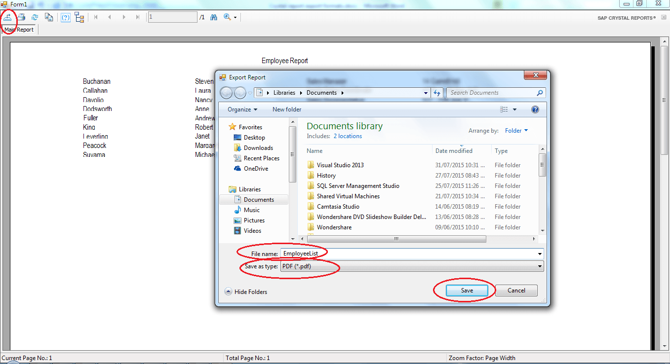 Export Crystal Report in Windows Application