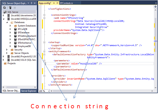 Database connection in entity framework