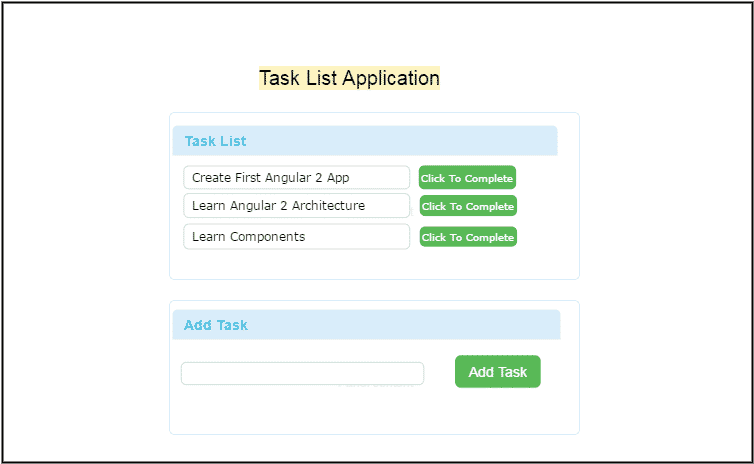 A simple Task List Application in Angular
