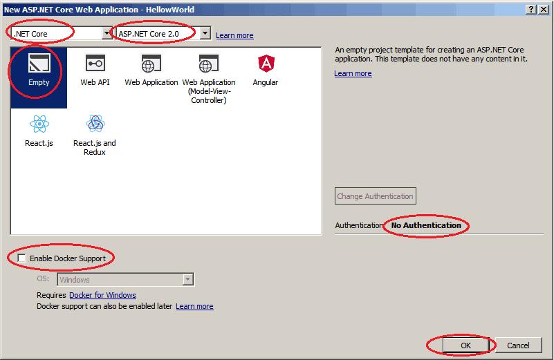 ASP.NET Core New Project Templates in Visual Studio