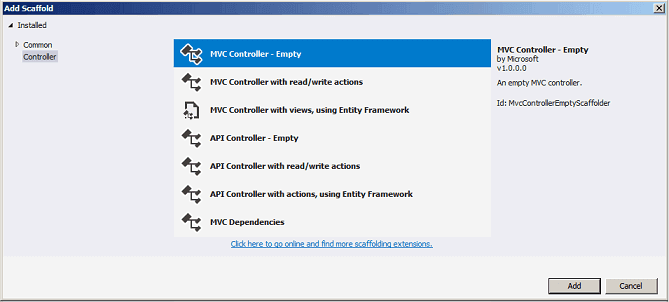 Add MVC Controller-Empty