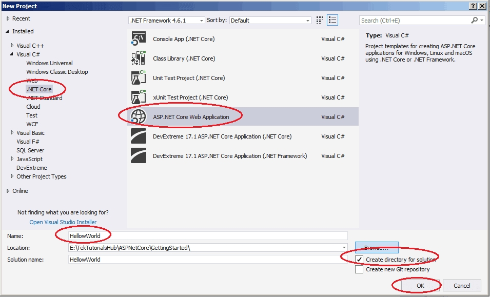 Creating New ASP.NET Core Project in Visual Studio