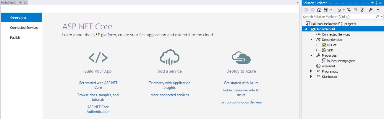 Hello World First ASP.NET Core Project in Visual Studio