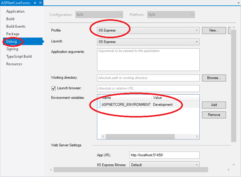 Setting the ASP.NET Core Environment Variable