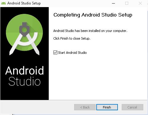 Android Studio Installation Finished. Start Android Studio