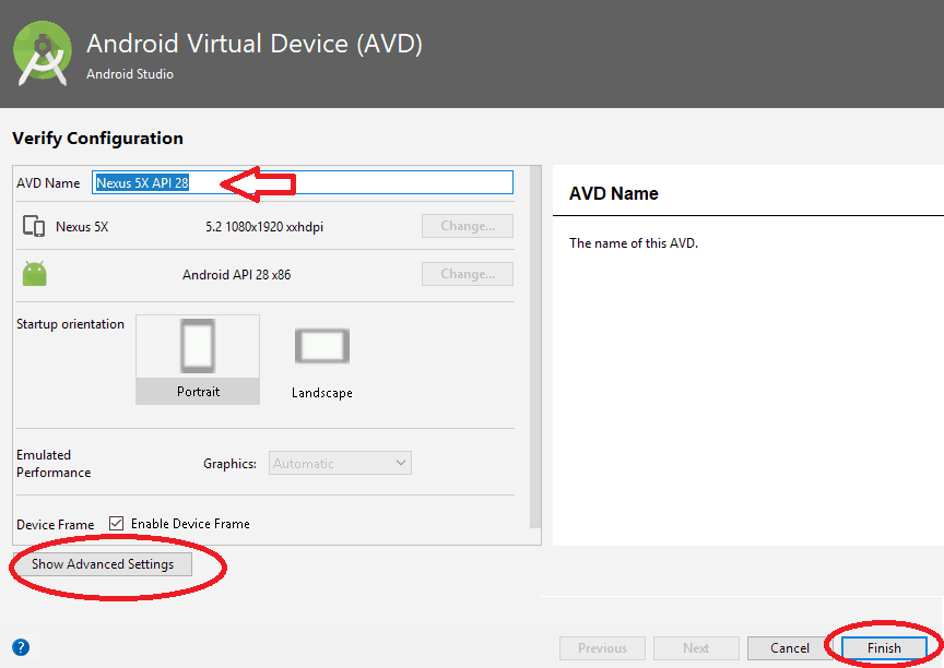 Android Virtual Device Verify Configuration