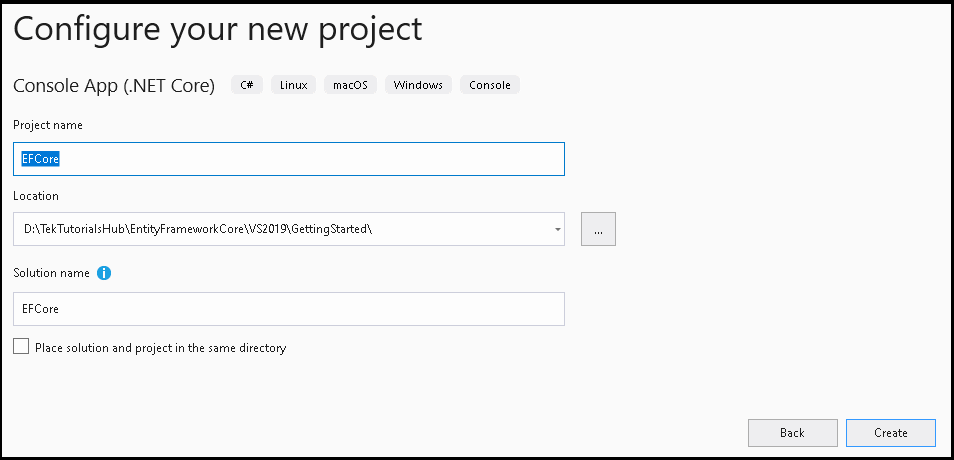 Configure your new project wizard