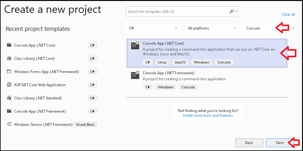Create a new net core Console App project
