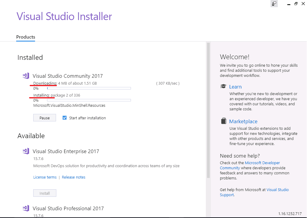 Installation of Visual Studio 2017