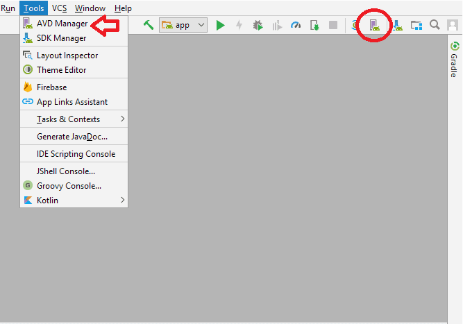 Open Android Virtual Device Manager in Android Studio