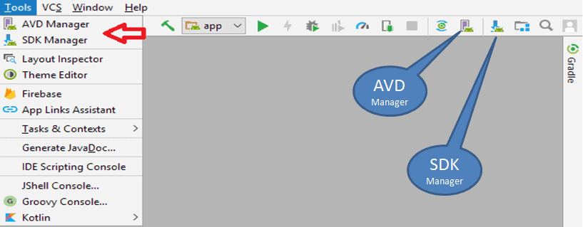 SDK Manager And AVD Manager in Android Studio