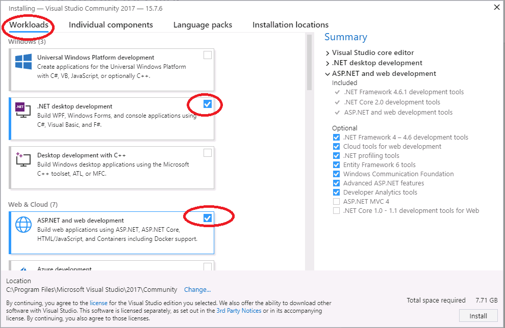 Select Workloads Visual Studio 2017