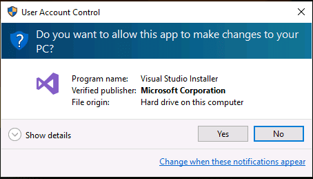 User Account Control Permission for Visual Studio 2017