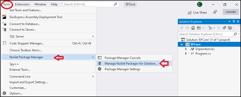 Using the NuGet Package Manager to Install Entity Framework Core