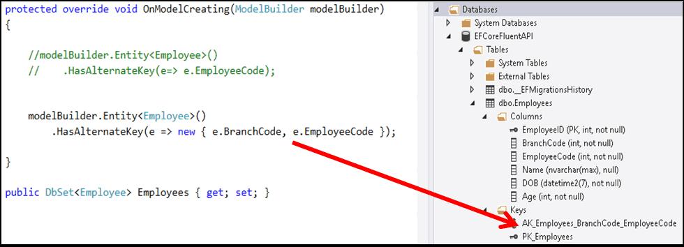 Entity Framework Core Fluent API HasAlternateKey Method Composite AlternateKey