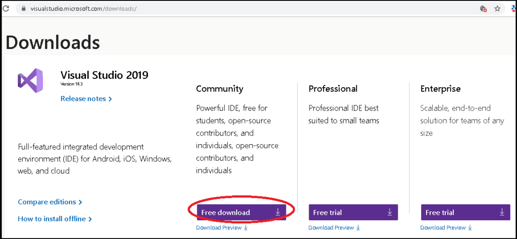 Download Visual Studio 2019