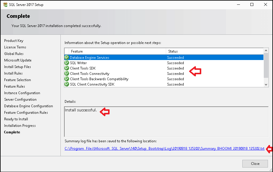 SQL Server Installation Complete