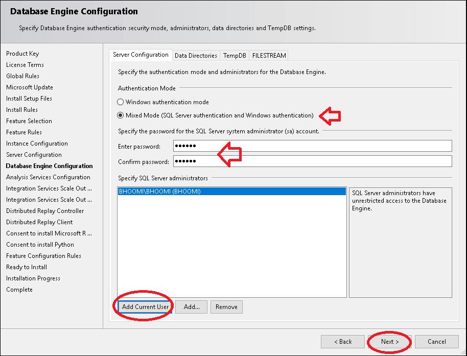 Database Engine Configuration Server