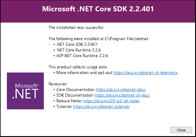 Installation of .NET Core Successful