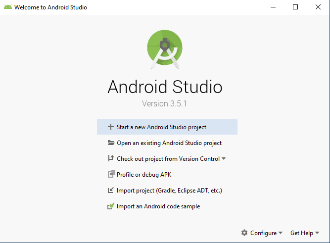 Android Studio Initial Screen