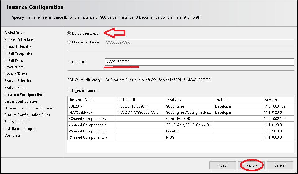 Instance Configuration - Default Instance