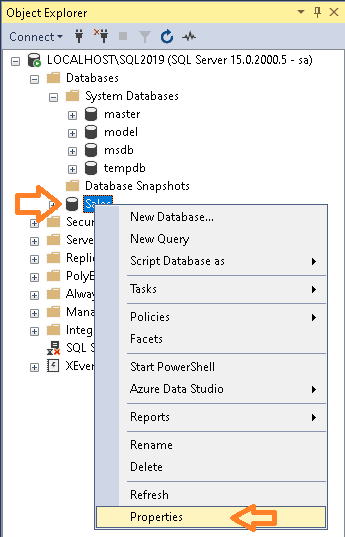 Select Database Properties in SSMS