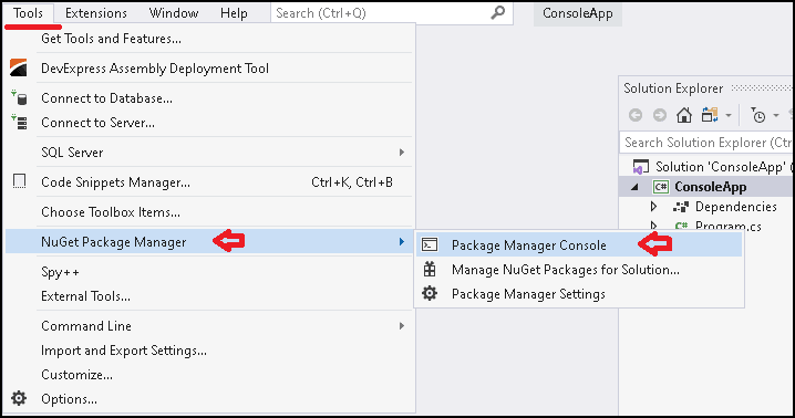 Installing Entity Framework Core using Package manager console