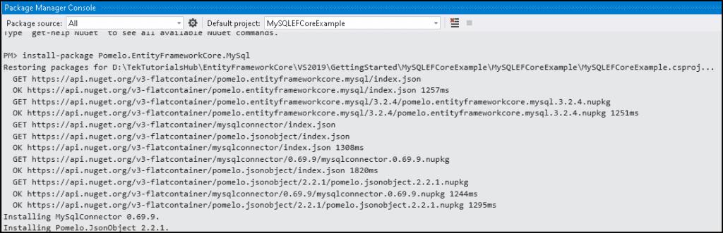 Installing Entity Framework Core for MySQL and MariaDB