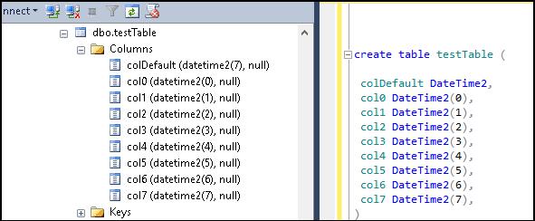 Creating DateTime2 columns in SQL Server
