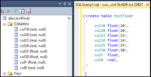 Creating Float and Real Columns in SQL Server