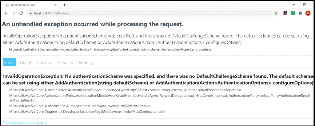 An unhandled exception occurred while processing the request