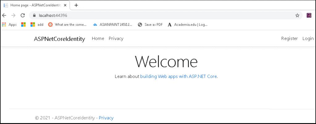 ASP.NET Core Identity Welcome screen