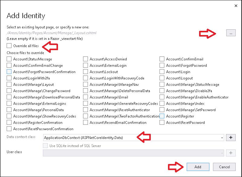 Add Identity Scaffold dialog box