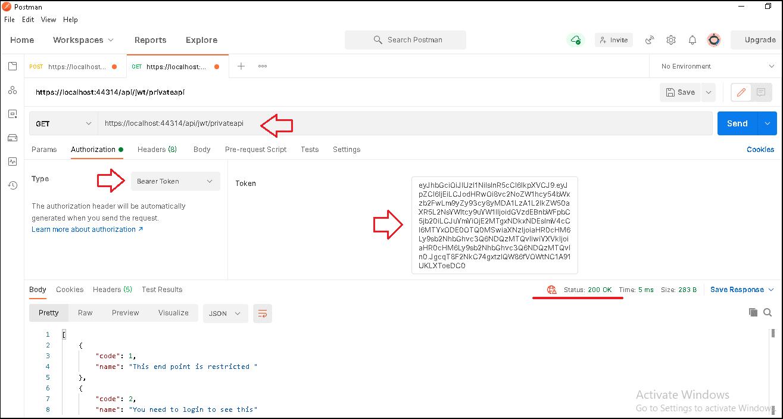 Bearer token authorization demo