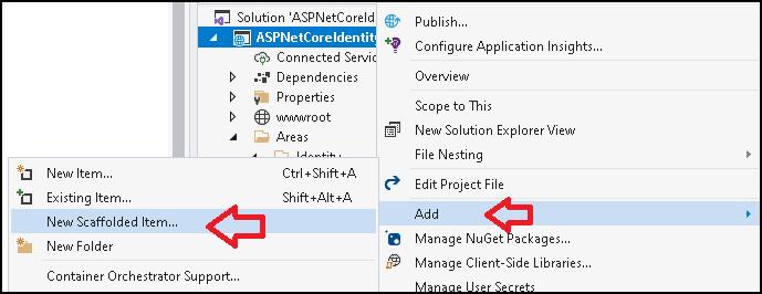 Scaffold Identity UI in ASP.NET Core