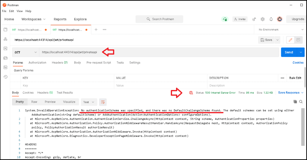 jwt authentication access to private api results in No authentication schema was specified